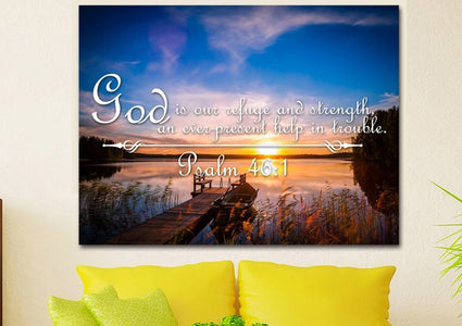Psalm 46:1 God is our Refuge and Strength, an ever-present Help in Trouble Bible Verse Canvas Wall Art