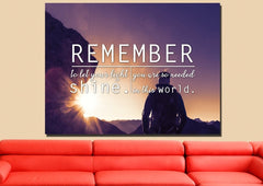 Remember to Let your Light Shine Christian Quotes Wall Art Canvas