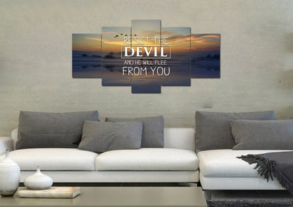 Resist the Devil Canvas Wall Art Print - Christian Walls