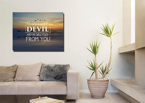 Image of Resist the Devil Canvas Wall Art Print - Christian Walls
