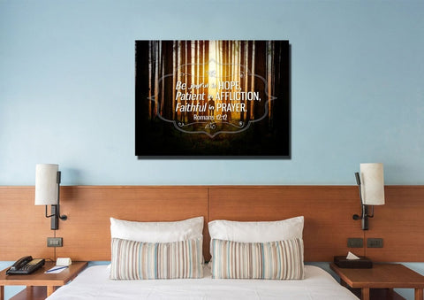 Image of Romans 12:12 Be Joyful in Hope Canvas Wall Art Print - Christian Walls