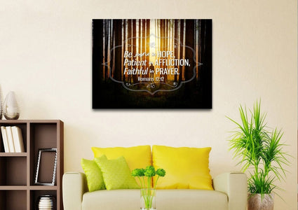 Romans 12:12 Be Joyful in Hope Canvas Wall Art Print - Christian Walls
