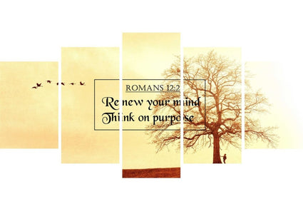 Romans 12:2 Renew your Mind, Think on Purpose Bible Verse Wall Art Canvas