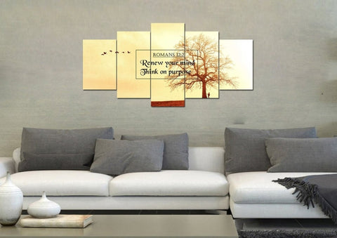 Image of Romans 12:2 Renew your Mind, Think on Purpose Bible Verse Wall Art Canvas
