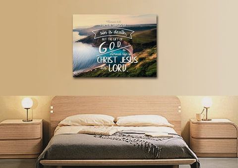 Image of Romans 6:23 The Gift of God is Eternal Life Canvas Wall Art Print