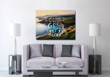 Romans 6:23 The Gift of God is Eternal Life Canvas Wall Art Print