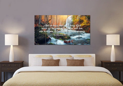 Romans 8:28 And we Know that in all Things God works for the Good of those who Love him Bible Verse Canvas Wall Art