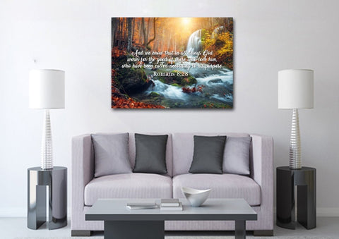 Image of Romans 8:28 And we Know that in all Things God works for the Good of those who Love him Bible Verse Canvas Wall Art