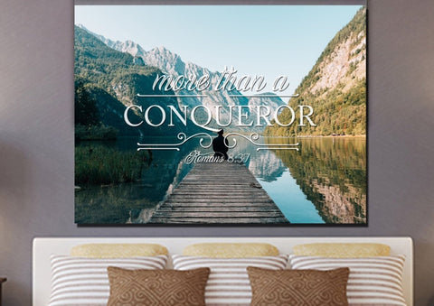 Image of Romans 8:37 Canvas Wall Art Print - Christian Walls