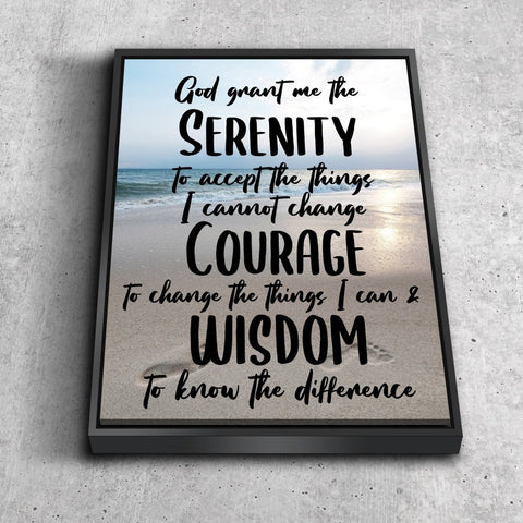 Serenity Prayer #8 'God Grant Me Serenity' Framed Canvas Print