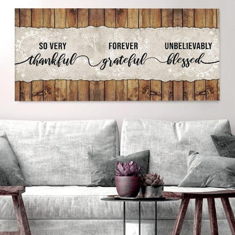 Image of So Thankful & Blessed - Christian Signs for Home