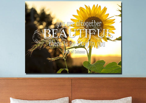 Song of Solomon 4:7 You are Altogether Beautiful Canvas Wall Art Print - Christian Walls