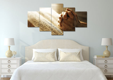 Image of Sunshine on Holy Bible & Praying Hands Wall Art #15