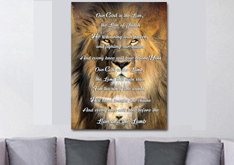 The Lion and the Lamb - Christian Quotes Wall Art Canvas Sayings, Phrases, Religious,Inspirational, Motivational, Encouraging, Home Decor