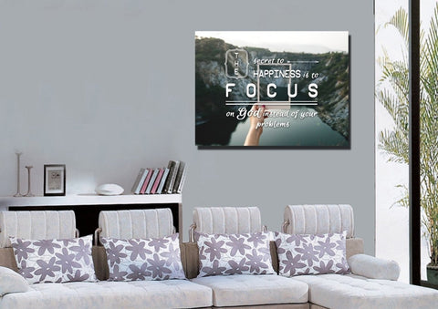 The Secret to Happiness is To Focus on God Wall Art Canvas Print