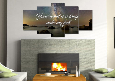 Image of Your word is a lamp unto my feet Christian Quote Wall Art Canvas