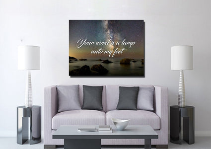 Your word is a lamp unto my feet Christian Quote Wall Art Canvas