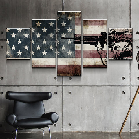 Patriotic Decor | Rustic American Flag Wall Art with US Army Soldier