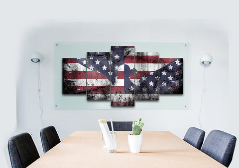 American Flag and Bald Eagle Blended Together Multi Panel Canvas Wall Art Painting Decor