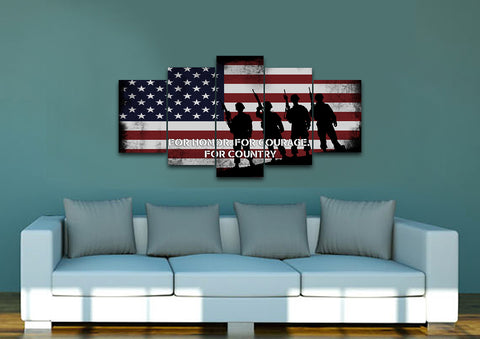 For Honor, For Courage, For Country American Flag on Wall art Canvas