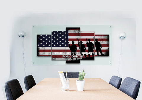 For Honor, For Courage, For Country American Flag on Wall art office Canvas
