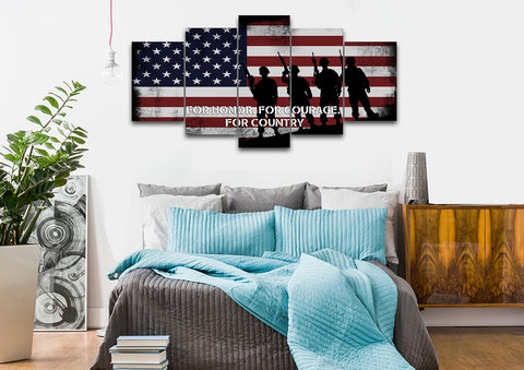 For Honor, For Courage, For Country American Flag on Wall art bedroom Canvas