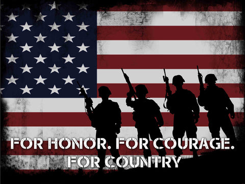 Honor Courage Country American Flag Wall Art Canvas
