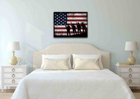 American Flag and 4 US Army Marines Wall Art Canvas Painting Decor bedroom