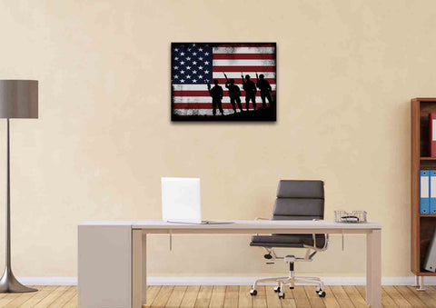 American Flag and 4 US Army Marines Wall Art Canvas Painting Decor home office