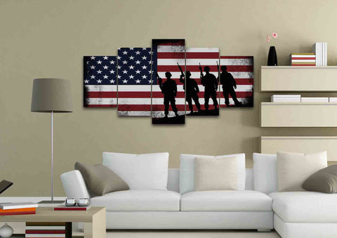 American Flag and 4 US Army Marines Wall Art Canvas Painting Decor living room