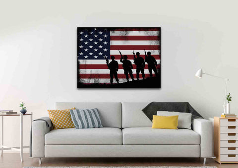 American Flag and 4 US Army Marines Wall Art Canvas Painting Decor livingroom