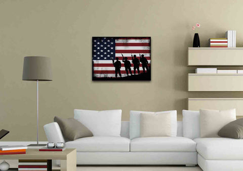 American Flag and 4 US Army Marines Wall Art Canvas Painting Decor