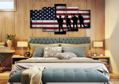American Flag and 4 US Army Marines Wall Art Canvas Painting Decor master bedroom
