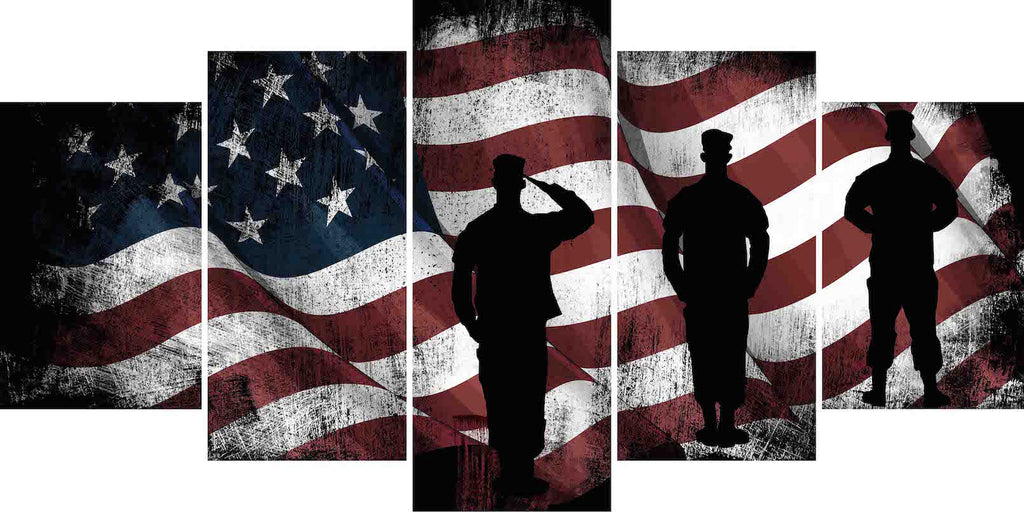 317b7e49a444 American Flag and US Army Marines Soldiers Wall Art Canvas Painting Decor  multi panel ...