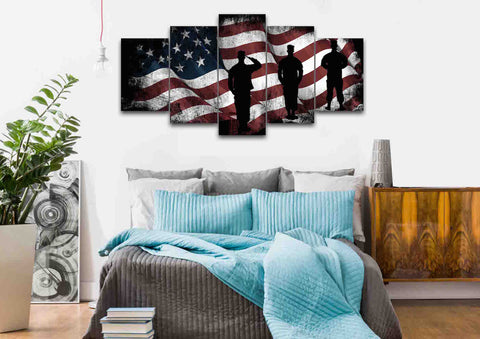 American Flag and US Army Marines Soldiers Wall Art Canvas Painting Decor bedroom