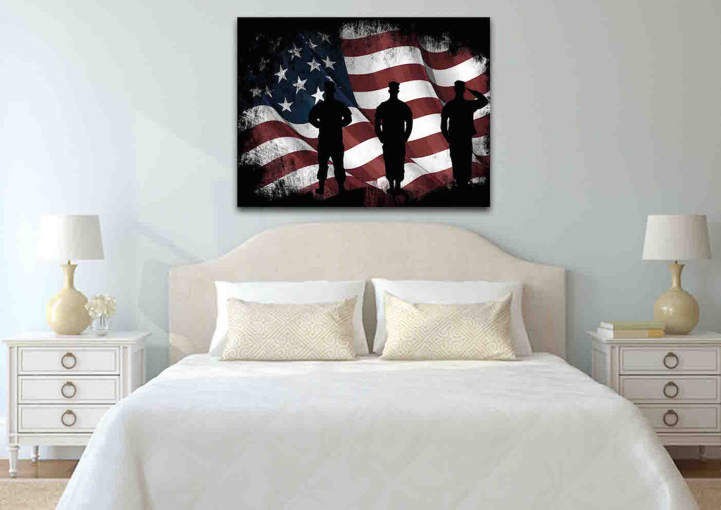 ffd880e7be40 ... American Flag and US Army Marines Soldiers Wall Art Canvas Painting  Decor bed room ...