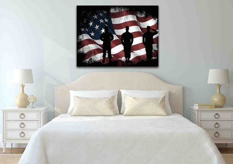 American Flag and US Army Marines Soldiers Wall Art Canvas Painting Decor bed room
