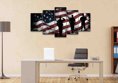 American Flag and US Army Marines Soldiers Wall Art Canvas Painting Decor home office