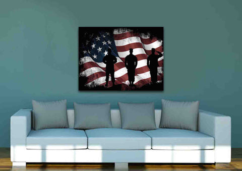 American Flag and US Army Marines Soldiers Wall Art Canvas Painting Decor livingroom