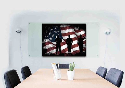 American Flag and US Army Marines Soldiers Wall Art Canvas Painting Decor office