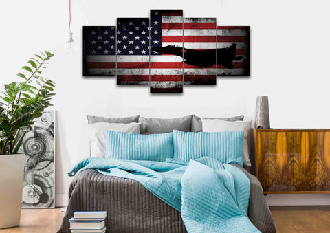 American Flag with US Navy Airforce Jet Airplane Wall Art Canvas bedroom
