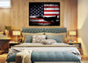Image of American Flag with US Navy Airforce Jet Airplane Wall Art Canvas Decor Painting
