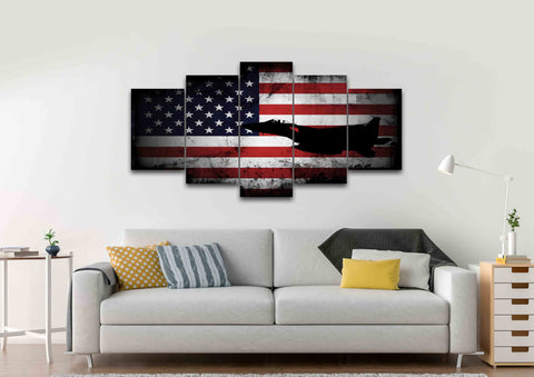 American Flag with US Navy Airforce Jet Airplane Wall Art Canvas home