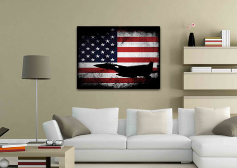 American Flag with US Navy Airforce Jet Airplane Wall Art Canvas living room