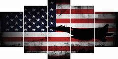 American Flag with US Navy Airforce Jet Airplane Wall Art Canvas Decor Painting