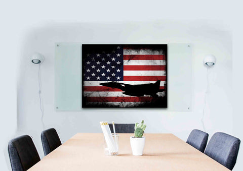 American Flag with US Navy Airforce Jet Airplane Wall Art Canvas office