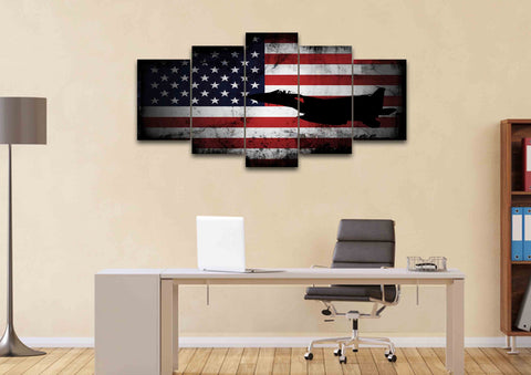 American Flag with US Navy Airforce Jet Airplane Wall Art Canvas home office
