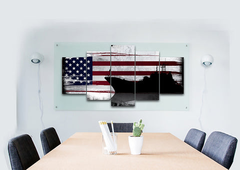 American Navy Destroyer Battleship Multi Panel Canvas Wall Art Painting Decor