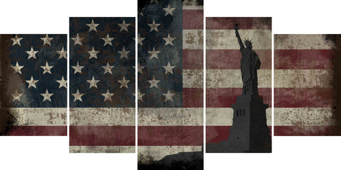 Statue of Liberty with Rustic American Flag Multi Panel Canvas Wall Art Painting Decor