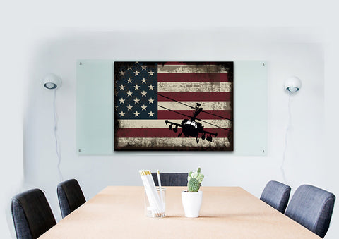 Military Helicopter with American Flag Multi Panel Canvas Wall Art Painting Decor